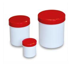 Salbenkruken weiß mit rotem Deckel